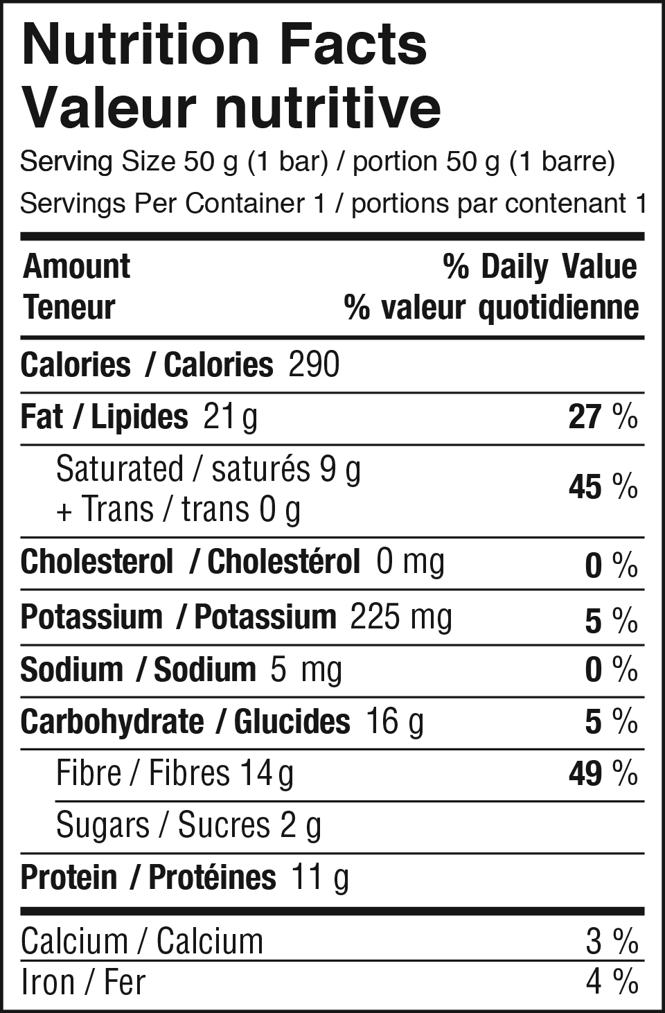 Dark Chocolate Peanut Nutrition Facts